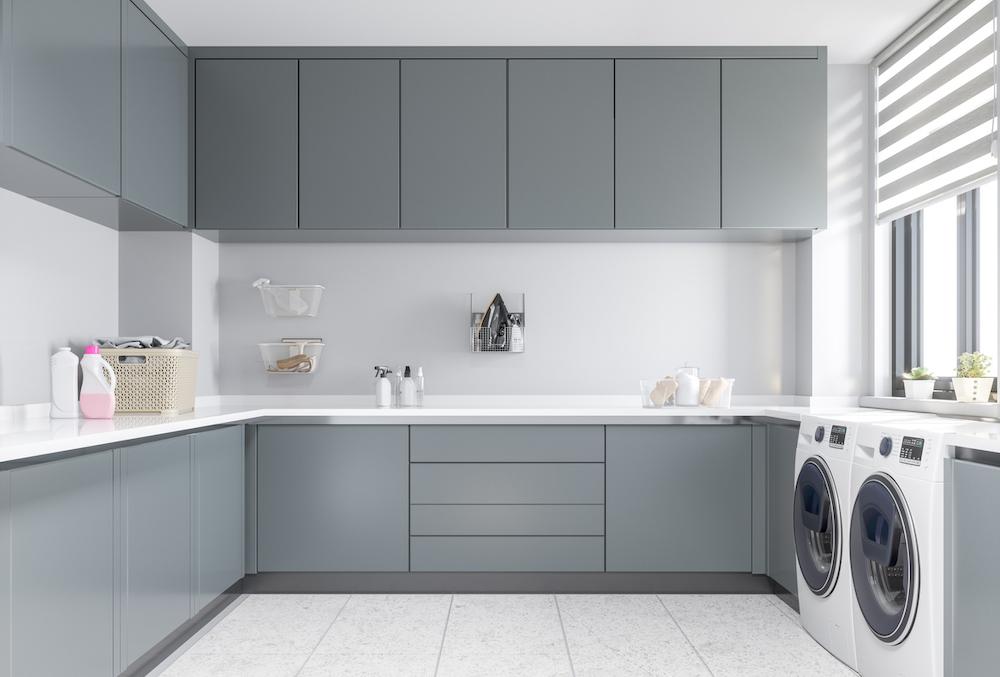 renovera tvättstuga med grått